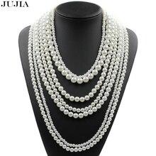 2017 À La Mode de mode perle bijoux multicouche collier longue imitation perle collier déclaration de la chaîne colliers(China (Mainland))