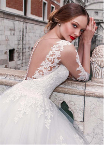 Image 4 - Chic Tulle Jewel Neckline A line Wedding Dress With Lace Appliques 3/4 Sleeves Bridal Gowns Illusion Back robe de mariee