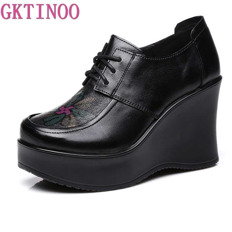 GKTINOO Spring Autumn Shoes Women Cow Leather Breathable Pumps Wedges High Heels Shoes Fashion Platform Women Pumps