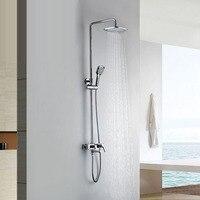 Настенные хром осадков латунь Ванная комната душ колонке ванны набор для душа с ABS ручной площадь Насадки для душа