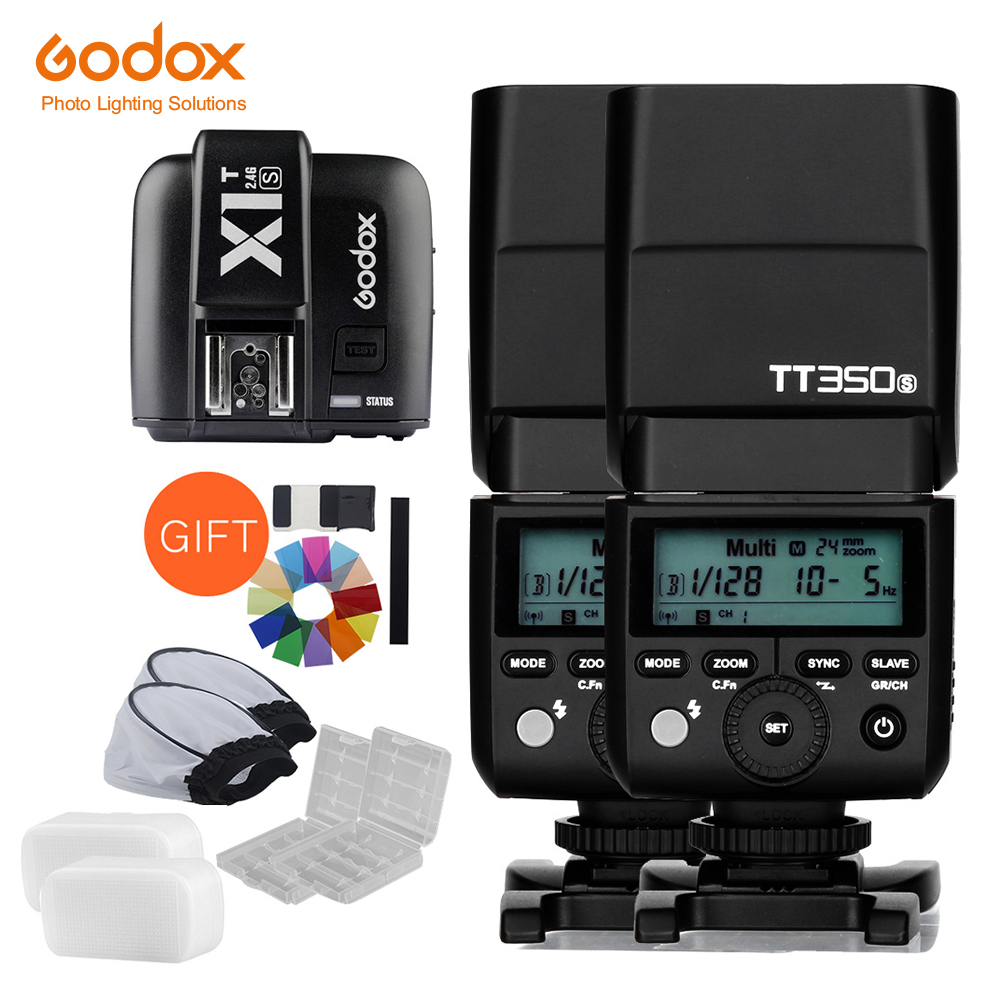 2x Godox Mini Speedlite TT350S Camera Flash TTL HSS GN36 X1T S Transmitter for Sony Mirrorless