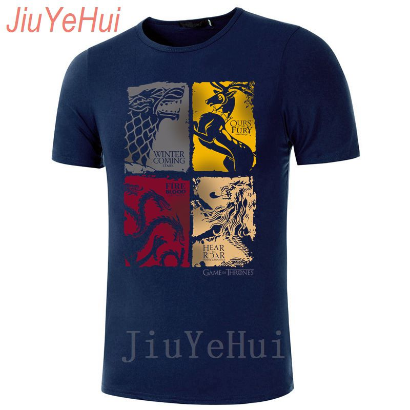 Brand New Game Of Thrones Vintage Tees Men   T     Shirt   TV Series House Stark Targaryen 100% Cotton   T  -  Shirt   Lannister Family Tshirts