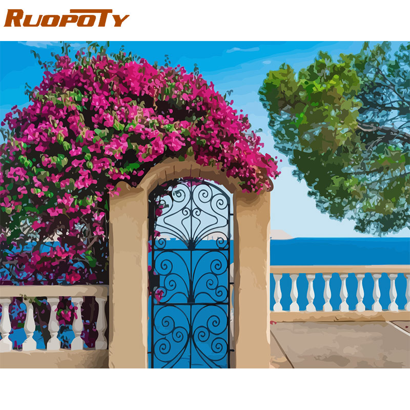 HTB13bsna7L0gK0jSZFAq6AA9pXam RUOPOTY Frame Diy Painting By Numbers Landscape Kit Acrylic Wall Art Picture By Numbers Canvas Painting For Home Decoration Arts