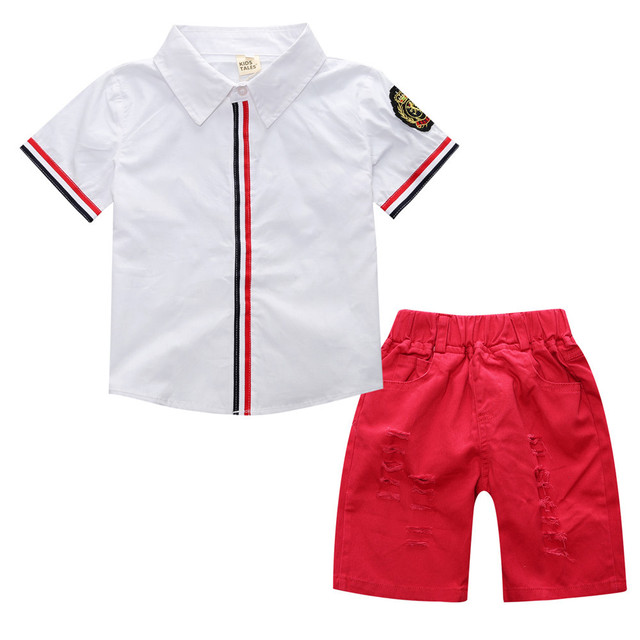 cab18b03e4a8 Casual Baby Boy Clothes Italy Style Striped Decorated Shirt+Ripped Red  Shorts 2 pcs Kids