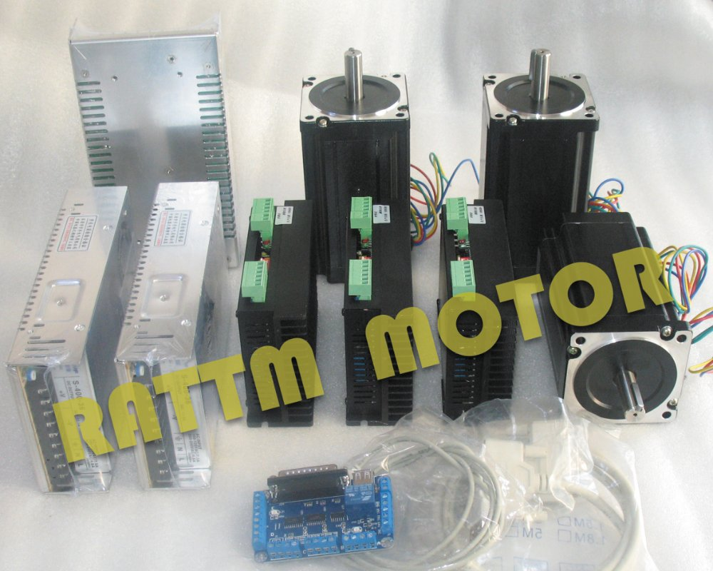 3Axis Nema34 116mm,5.0A ,1230oz-in Stepper Motor (Dual shaft) & Motor driver 6A/80VDC 256 Microstep 6a 12 30 1b yhb 14 k 050405