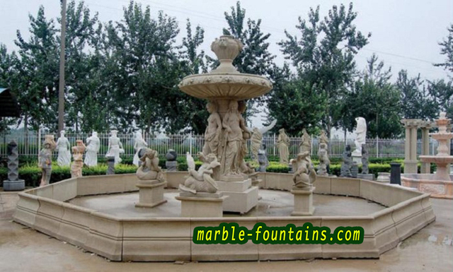 Natural Stone Fountains Los Angeles Beige Marble Hand Carved Large Outdoor  Fountain Statuary With Optional Water