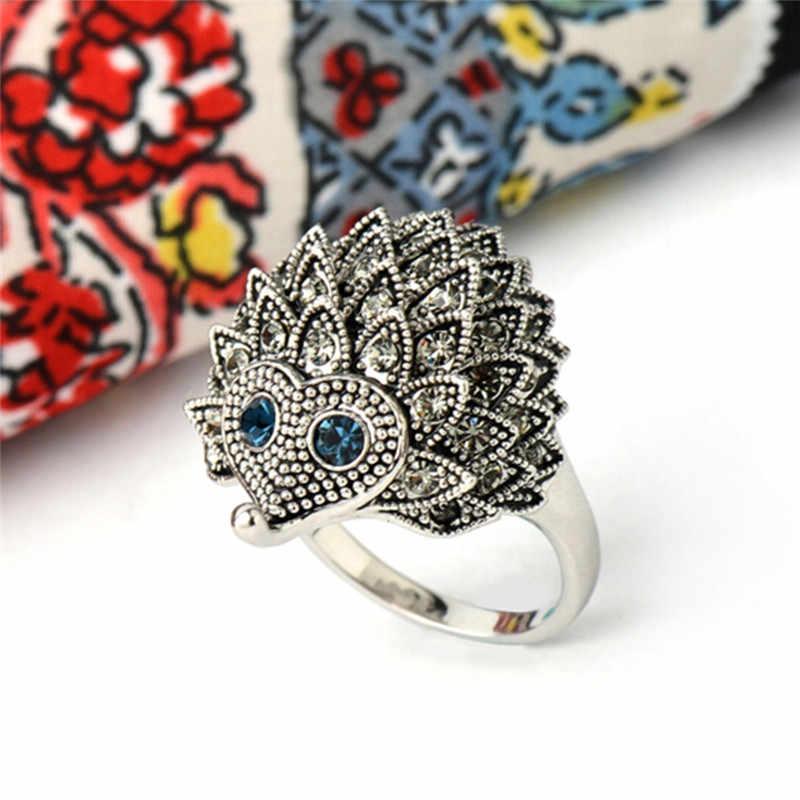 Уникальный резной старинный Ежик счастливые кольца винтажное Европейское панк кольцо для женщин в стиле бохо пляжное для вечеринки ювелирные изделия