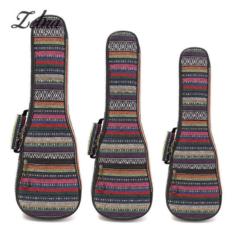 Zebra 21 23 26 Inch Padded Cotton Folk Portable Bass Guitar Gig Bag Ukulele Case Box Cover Guitar Backpack with Double Strap 40 41inch acoustic classical guitar bag case backpack adjustable shoulder strap portable 4mm thicken padded black