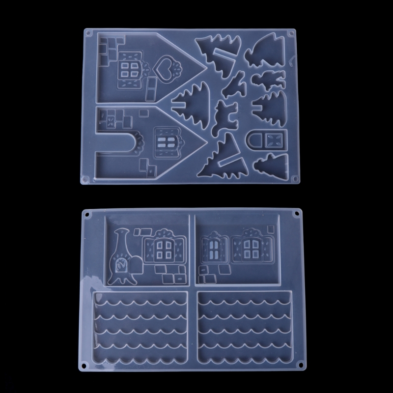 JAVRICK DIY Silicone Christmas House Castle Mold Epoxy Resin Jewelry Making Tool Set NEW