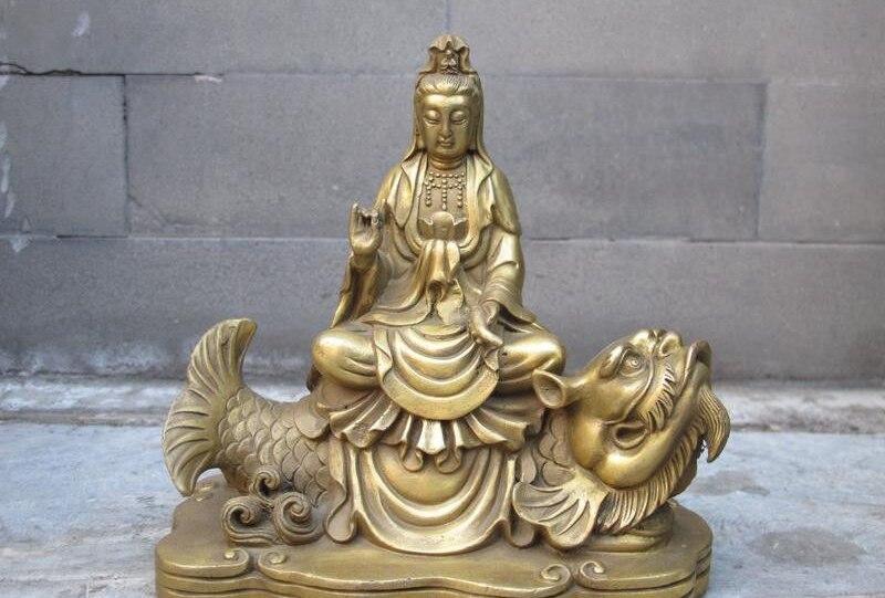 Tibet Buddhism Brass Copper Guan Yin Ride On Dragon Fish Goddess Boddhisattva A5.19