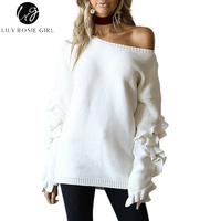 Lily Rosie Girl Casual Off Shoulder Knitted Sweater Ruffles Long Sleeve Autumn Women Pullovers 2017 Winter