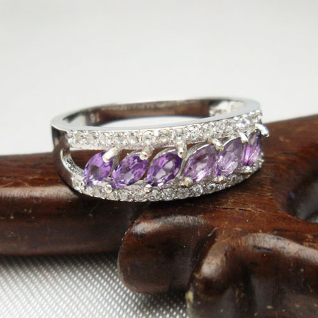 Classic engagement ring AAA class natural amethyst ring in 925 silver  free jewelry box