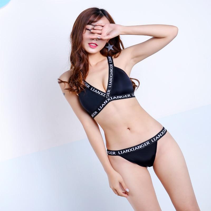 Women Black Bra Film No Rims Beauty Spot In The Chest Underwear Bra Set Back V-neck Sexy Back Pad