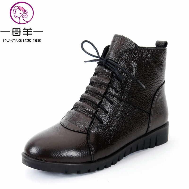MUYANG MIE MIE Artı Boyutu (35-43) kış Kadın Ayakkabı Kadın Hakiki Deri Düz yarım çizmeler Kadın Dantel-up Kar Botları Bayan Botları