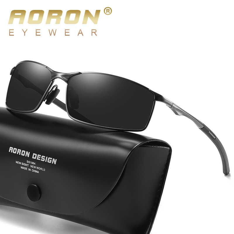 Aoron Kacamata Hitam Pria/Wanita Terpolarisasi Kacamata Mengemudi Luar Ruangan Klasik Cermin Matahari Kacamata Pria Bingkai Logam UV400 Kacamata