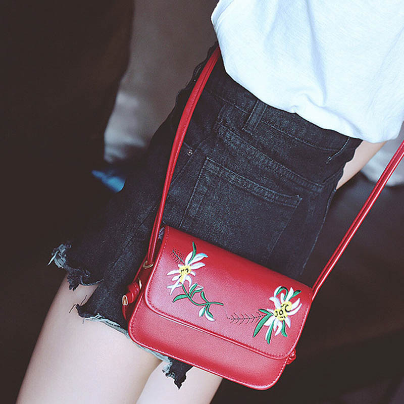 Simple Fashion Women Messenger Bags Leather Flowers Embroidery Zipped Summer Ladies Girls Crossbody Shoulder Bag Bolsa Feminina