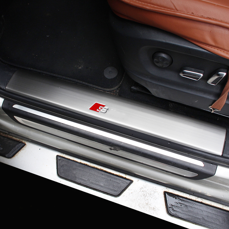 Stainless Steel Car Interior Door Sill Scuff Plate Pad Threshold Car Guards Sills For Audi Q5 2010 11 12 13 14 15 Car styling stainless steel interior door sills scuff plates guard threshold strip plate welcome pedal 3d sticker for audi a5 2010 2016