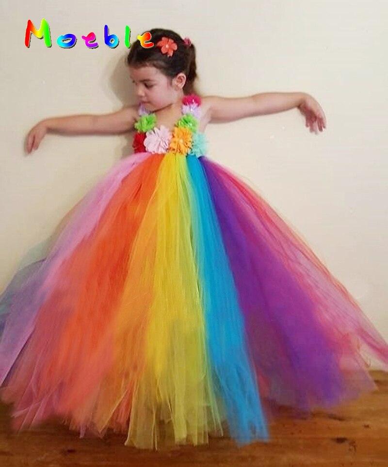 2017 New Arrival Candy Rainbow Flower Girl Tutu Dress Soft Tulle Teenager Long Dresses Kids Pagent Costume Vestido Infantil
