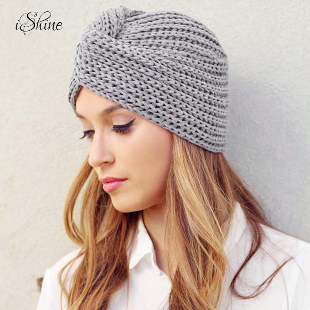 Women's Winter Warm Knit Turban Cross Twist Arab Hair Wrap Solid Casual   Skullies   &   Beanies   Hat Cap Knit Turban Cross