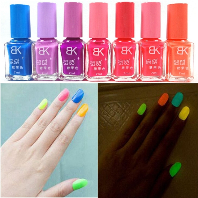 Neon Fluorescent Luminous Oil Matte Nail Polish Candy Transpa Art Paint Light Color