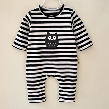 2017 Spring baby boy clothes fashion full cotton stripe owl newborn kids boy clothing set rompers + hat + Bib baby born clothes