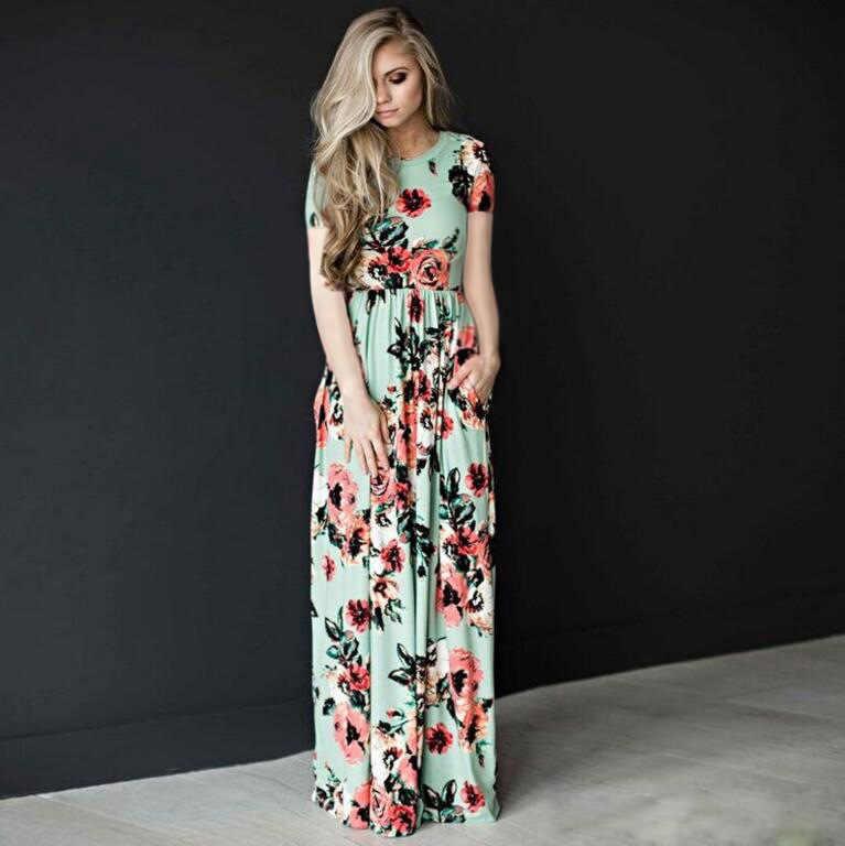 ea1e68747db ... AVODOVAMA M 2018 Летнее Длинное платье короткий рукав цветочный принт  для женщин Вечеринка платья для богемный