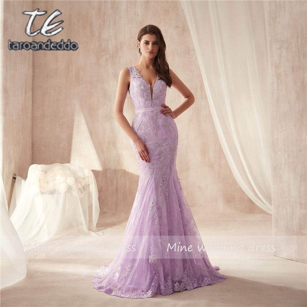 Deep V-neck Applique Lace Mermaid Lilac   Prom     Dress   Button Illusion Back Sexy Sleeveless Evening   Dress   vestidos formatura longo