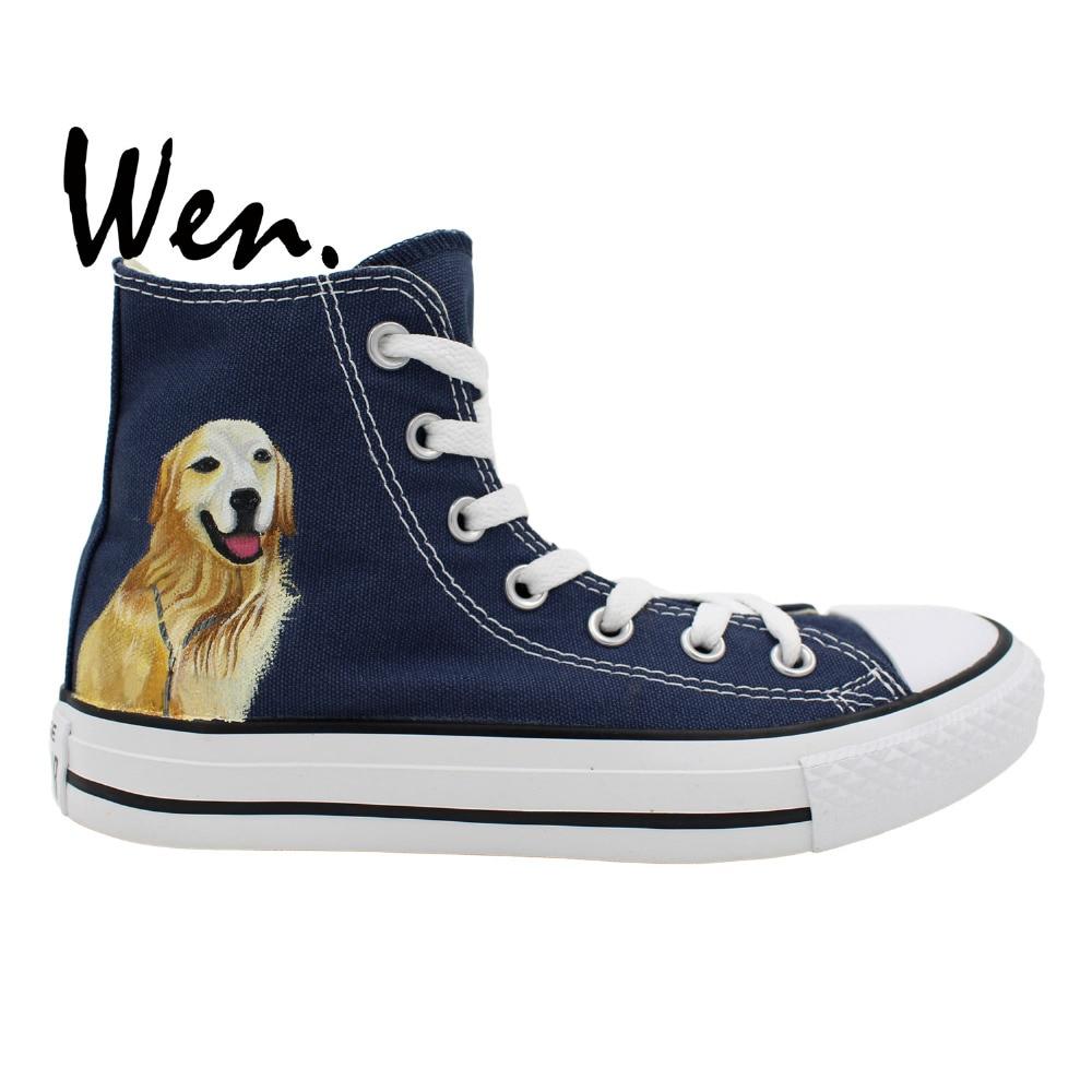 34ffc011857cf US $72.0 |Wen Hand Painted Unisex Casual Shoes Custom Design Pet Dog Golden  Retriever Men Women's Dark Blue High Top Canvas Shoes-in Men's Vulcanize ...