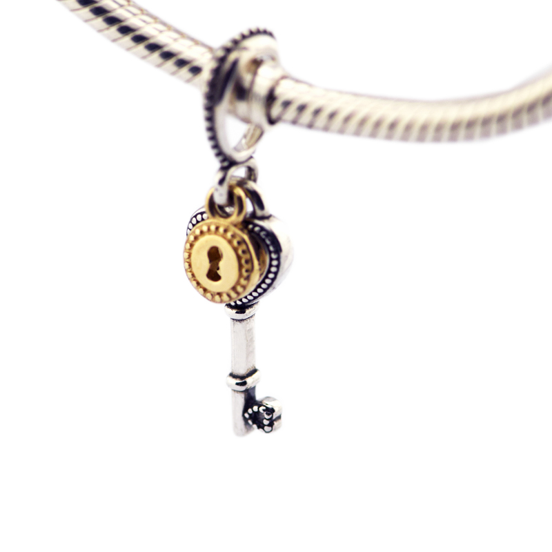 100% 925 Sterling Silver Key to My Heart Dangle Charms Beads Fits European Beads Bracelet DIY Fine Jewelry Making Berloque