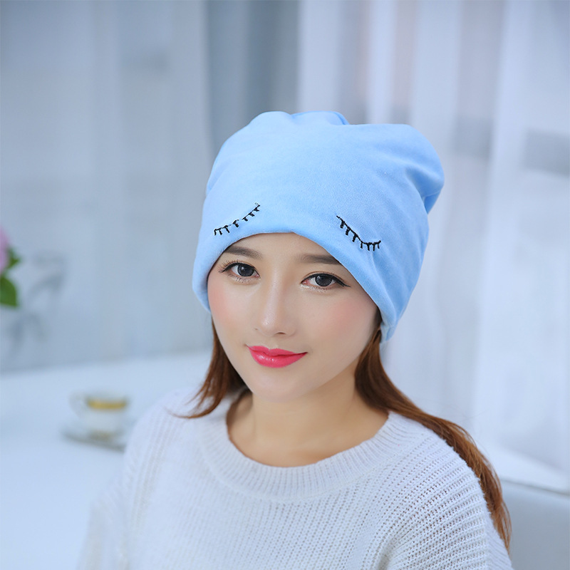 New Autumn Winter Womens Velvet Cotton Hats Skullies Beanies Casual Cap Embroidered Squint Hats for Women 2017 new lace beanies hats for women skullies baggy cap autumn winter russia designer skullies