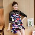 2016 pregnant women, high-quality space cotton lace stitching big yards pregnant women dress fashion print dress