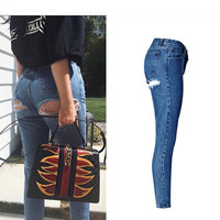 Super Sexy Butt Ripped Hole Jeans Slim Fit Women Jeans High Waist Exposed Hips Fashion Denim