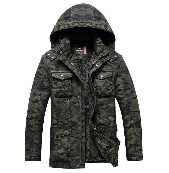 Mens Long Winter Camouflage Jacket Fur Hooded Down 2017 Outwear Thick Military Style Parkas Male Big Coats Army Green Camo 3XL lurker shark skin soft shell v4 military tactical jacket men waterproof windproof warm coat camouflage hooded camo army clothing