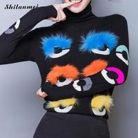 2018 Women'S Winter Turtleneck Sweater Eye Fur Ball Sweater And Pullovers Long Sleeve Knit Warm Fashion Colorful Pull Femme