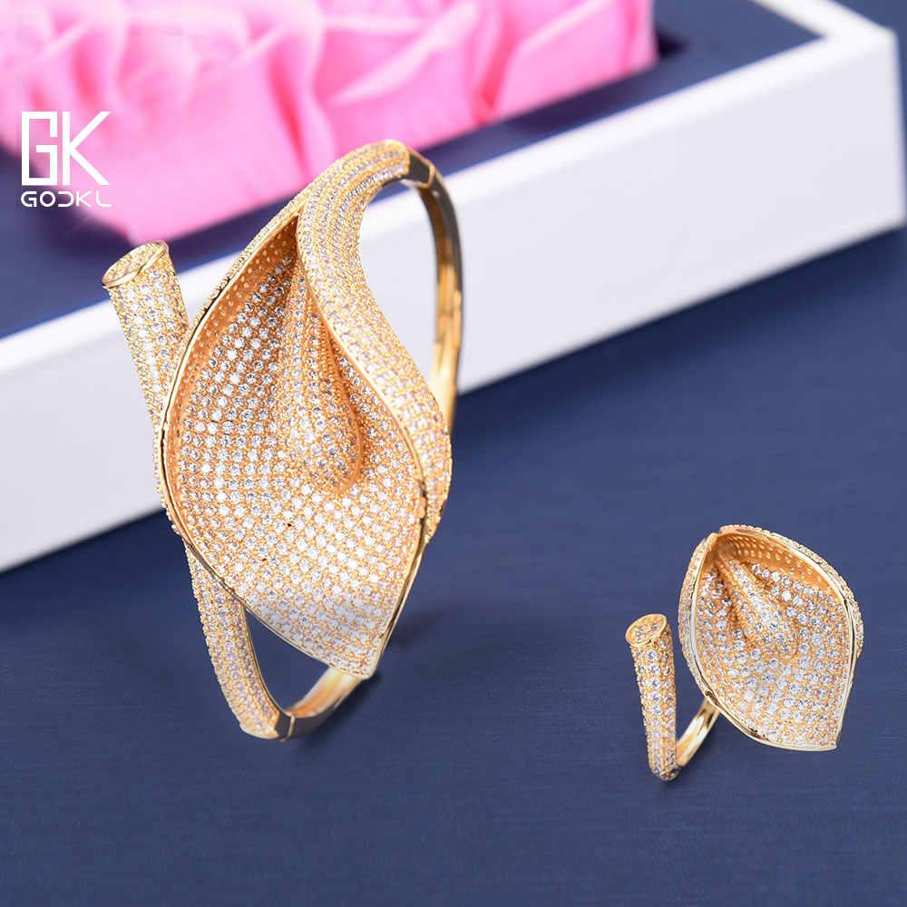 GODKI ดอกไม้หรูหราสร้อยคอชุดต่างหู Cubic Zircon ชุดเครื่องประดับสำหรับงานแต่งงานแอฟริกันดูไบอินเดียเครื่องประดับชุดเจ้าสาว