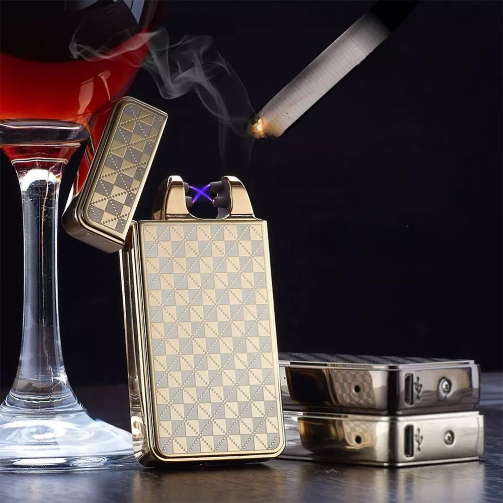 Cross double arc charging lighter USB cigarette lighter Men lighters with Gift Box