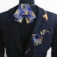 3 шт. Мода классический галстук-бабочка устанавливает брошь best man жених костюм аксессуары плед резные металлические броши булавки мужские п...