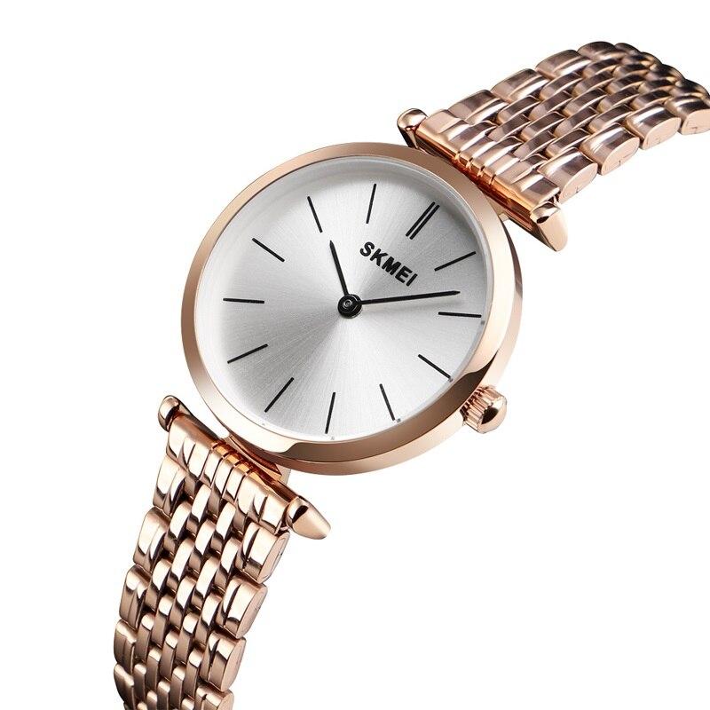 SKMEI Luxury Women Quartz Watch Stainless Steel Watches  Clock Gift Fashion Casual Ladies Wristwatch Waterproof  Reloj Mujer Women's Watches     - title=