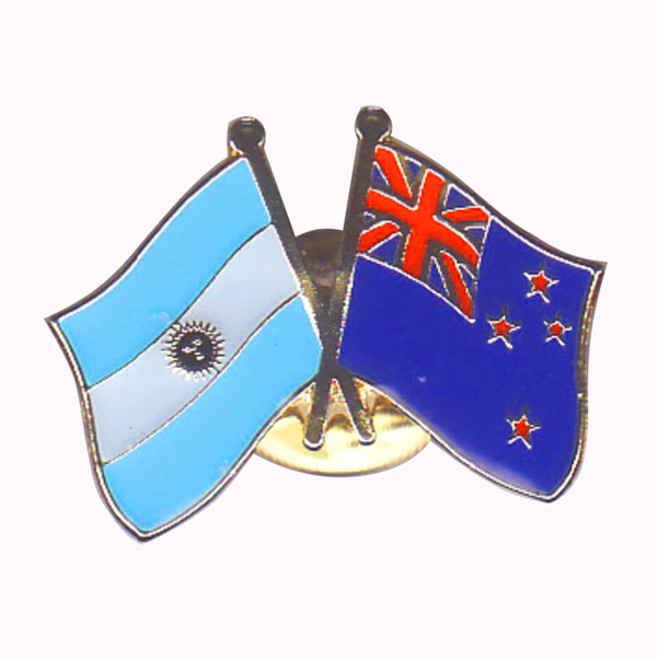 Our Argentina & New Zealand Friendship Lapel Pins are A Great Way to Show Support Jex Brand MOQ50pcs Per Item Free Shipping