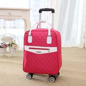 Image 2 - 新しい女性旅行荷物スーツケースハンドバッグ、女の子キャビン防水オックスフォードローリングトロリースーツケース、女性キャリーアドオンホイールドラッグバッグ