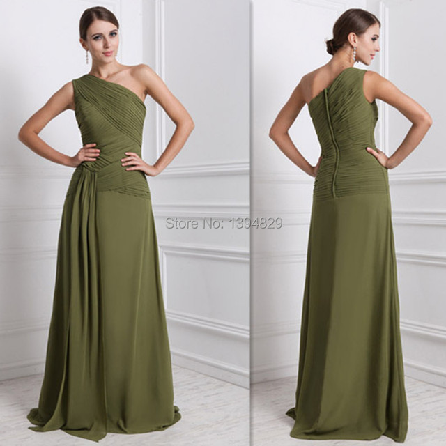 15019ed8996 2015 Autumn Olive Green Bridesmaid Dresses Chiffon One Shoulder Dress For  Party Of Marriage Toronto Wedding Guests Gowns Cheap