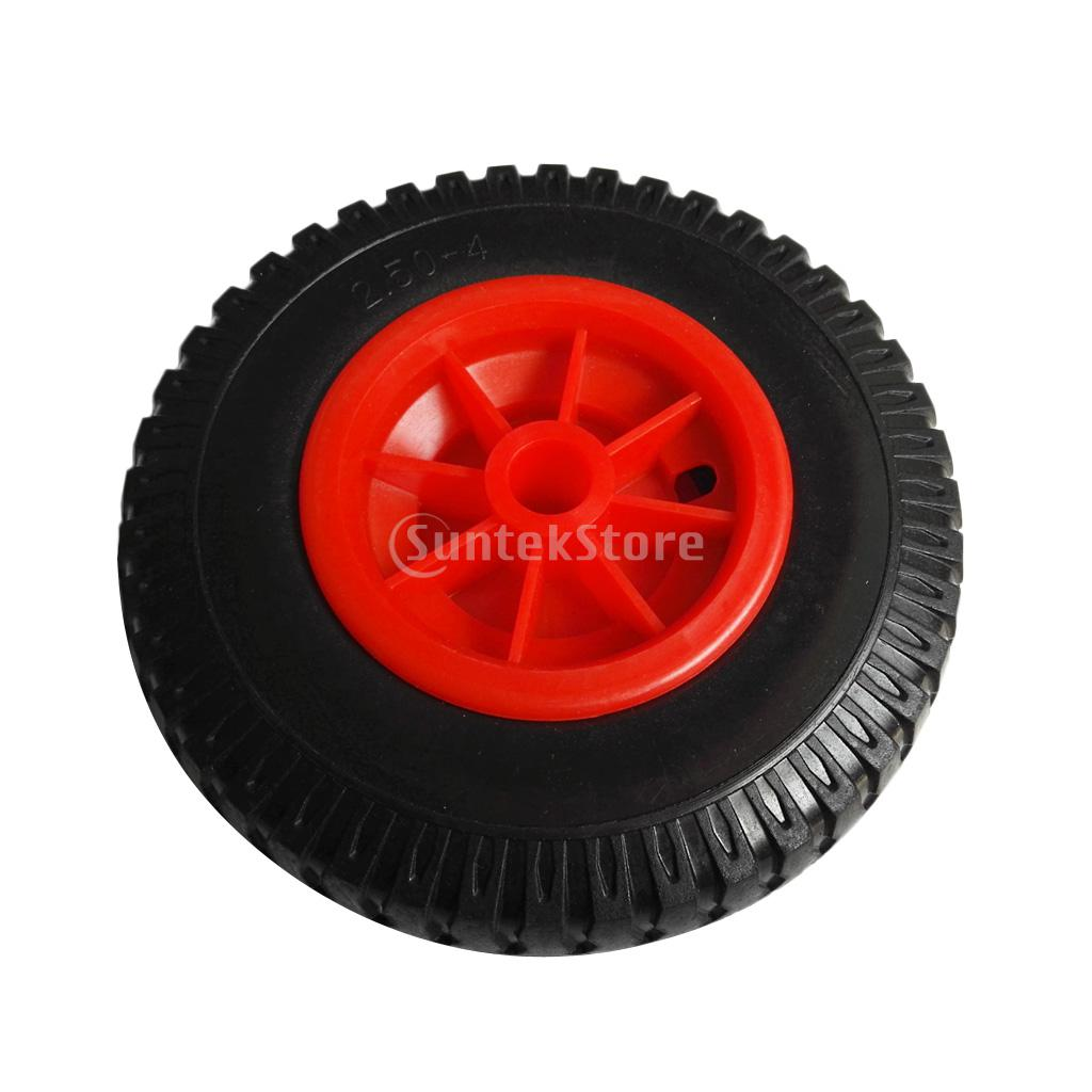 Puncture Proof Rubber Tyres On Red Wheel - Kayak Trolley/Trailer Wheel 19mm/22mm Bore Dia.