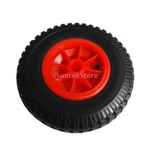 Puncture Proof Rubber Tyres on Red Wheel - Kayak Trolley/Trailer Wheel 19mm/22mm Bore Dia.(China)