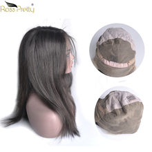 Ross Pretty Remy Hair Full lace wig Natural Color Black Baby Hair with Pre Plucked Brazilian Straight full lace human hair wigs siv hair medium straight full lace 100 percent human hair wig
