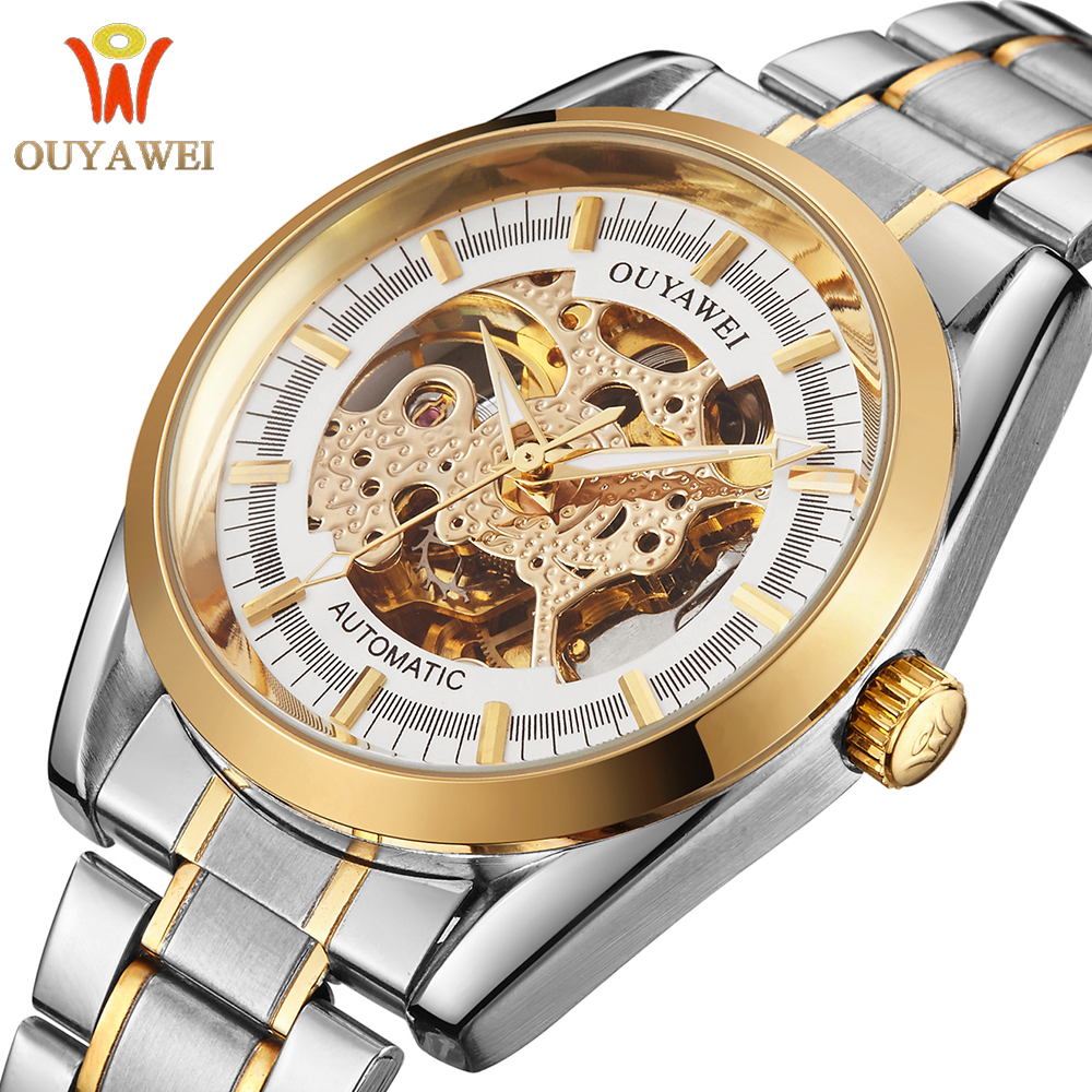 OUYAWEI Automatic Male Wristwatch Luxury Golden Case Stainless Steel Band Relogio Masculino Mechanical Skeleton Watch Men Clock orkina clock men leather skeleton watch classic retro golden case relogio male masculino mechanical automatic watch