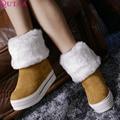QUTAA Botines Flock Botas de Punta Redonda Con Cordones Para Mujer de Invierno Botas de Plataforma de la Mujer Zapatos de Invierno Botas de Nieve tamaño 34-43
