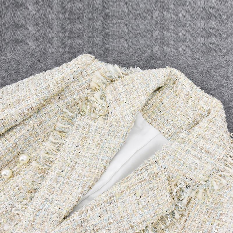 Fait Femmes Tempérament Veste Boutonnage Pompom Femme De Printemps Pour Boucle À Double Tweed Main automne Perle Britannique Vert 2019 ZR0SvAqx