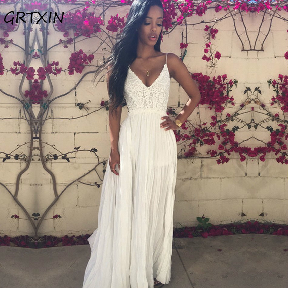 Sexy Dress Women Dress Summer 2018 Maxi Long Fashion Chiffon Dress Party Dress Pure White / Wine Red Multi Size ...