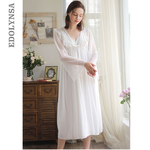 44875b68d7 Princess Robe Gown Sets Vintage Two Pieces Sleepwear Women Peignoir Set  Transparent Lace Kimono Robe Night Chemise Dress T254