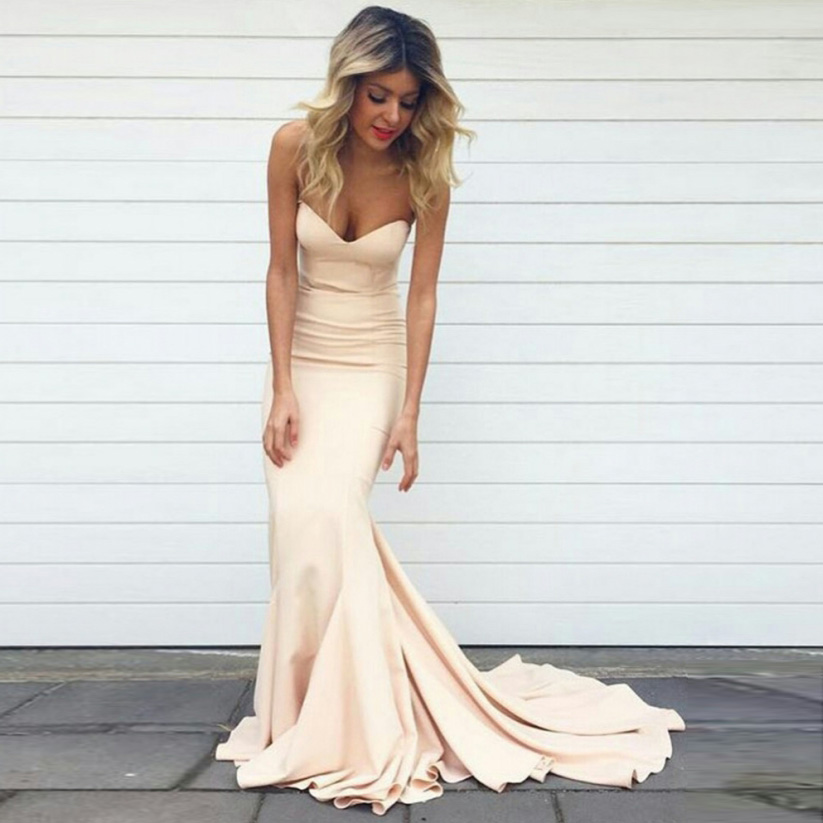 2017 Simple Mermaid Prom Dresses Nude Color Sweetheart Neck Court Train Satin Women Evening -2180